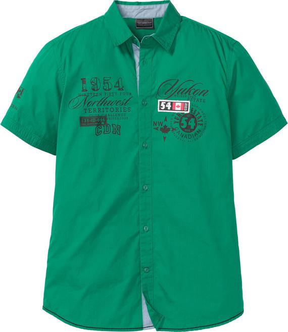 Zielona koszula bonprix bpc selection z krótkim rękawem