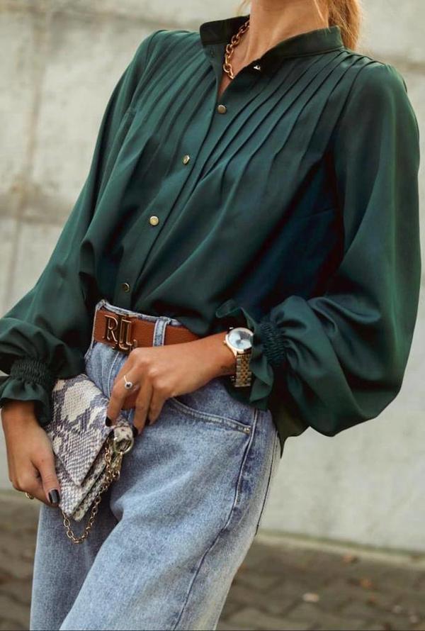 Zielona koszula lafemmeboutique.pl z jeansu