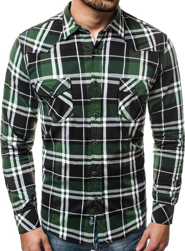 Zielona koszula Ozonee.pl z klasycznym kołnierzykiem w stylu  OUhXS