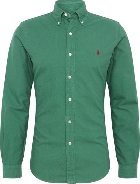 Zielona koszula POLO RALPH LAUREN z długim rękawem z klasycznym kołnierzykiem
