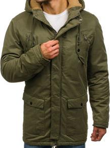 Zielona kurtka denley bez wzorów