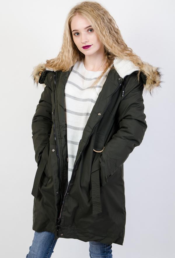 Zielona kurtka Olika długa w stylu casual