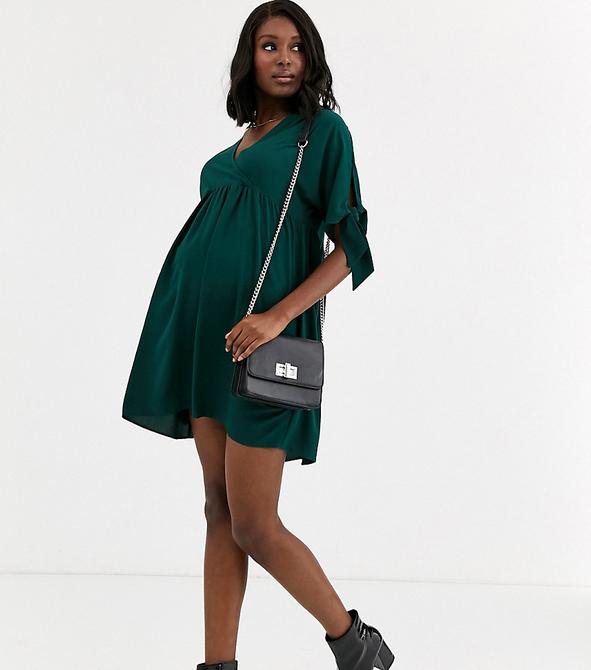 Zielona sukienka Asos z długim rękawem oversize