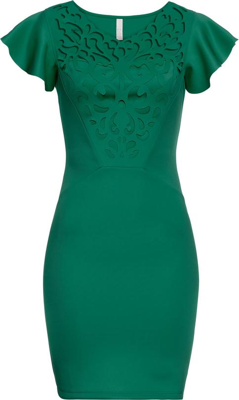 Zielona sukienka bonprix bodyflirt boutique mini