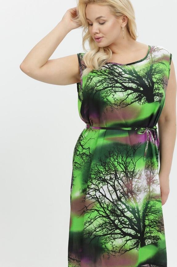 Zielona sukienka born2be bez rękawów trapezowa z okrągłym dekoltem