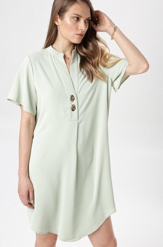 Zielona sukienka born2be mini w stylu casual z krótkim rękawem