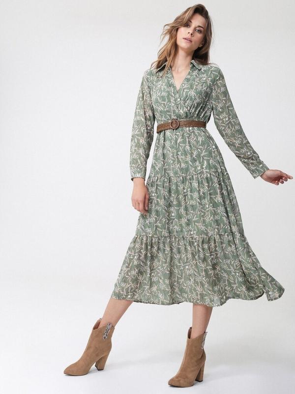 Zielona sukienka born2be w stylu casual midi z długim rękawem