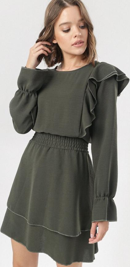 Zielona sukienka born2be w stylu casual z długim rękawem mini