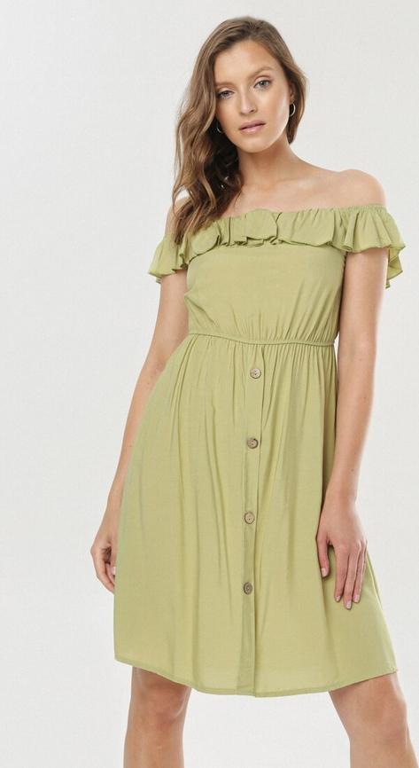 Zielona sukienka born2be z krótkim rękawem mini