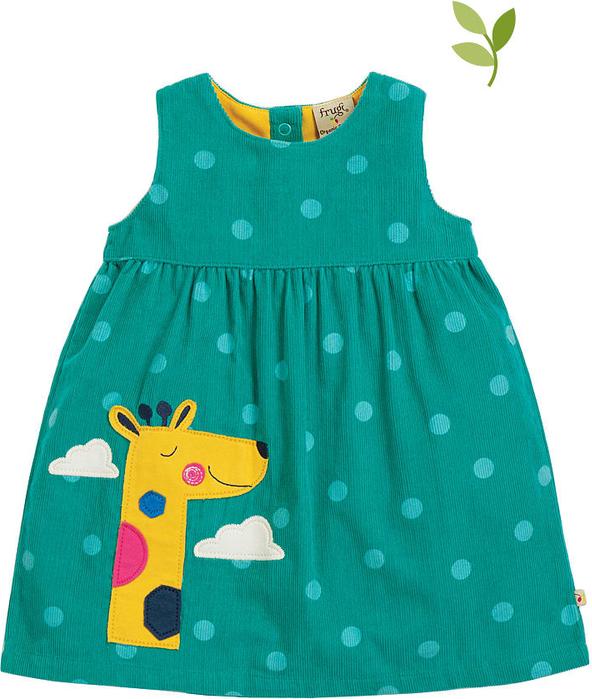 Zielona sukienka dziewczęca Frugi w groszki