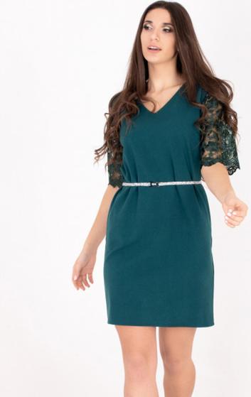 Zielona sukienka ELEONORA PORTERA z dekoltem w kształcie litery v