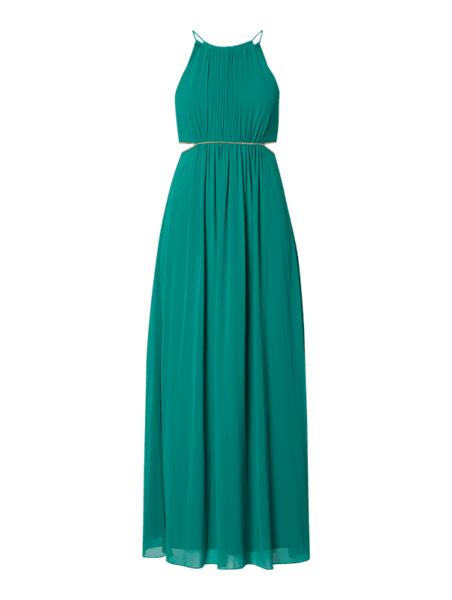 Zielona sukienka Jake*s Cocktail maxi rozkloszowana z szyfonu