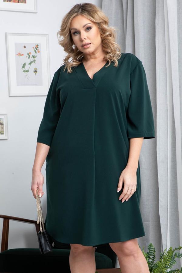 Zielona sukienka KARKO z dekoltem w kształcie litery v z tkaniny
