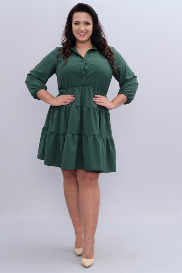 Zielona sukienka KARKO z długim rękawem oversize