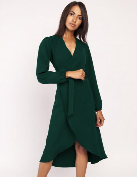 Zielona sukienka Lanti z długim rękawem z dekoltem w kształcie litery v asymetryczna