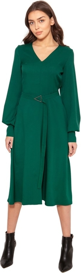 Zielona sukienka Lanti z tkaniny z długim rękawem