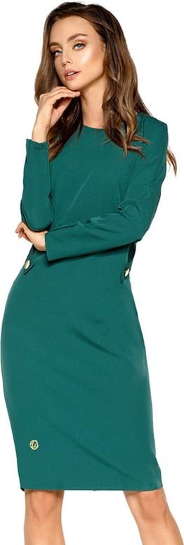 Zielona sukienka Lemoniade z długim rękawem midi z dekoltem w kształcie litery v