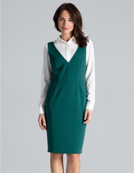 Zielona sukienka LENITIF z dekoltem w kształcie litery v z długim rękawem
