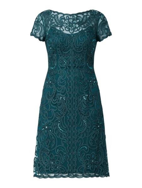 Zielona sukienka Luxuar z okrągłym dekoltem z krótkim rękawem