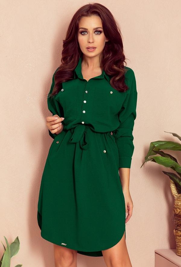Zielona sukienka Merg w stylu casual szmizjerka