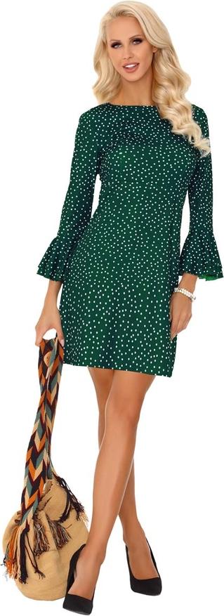Zielona sukienka MERRIBEL z długim rękawem z bawełny