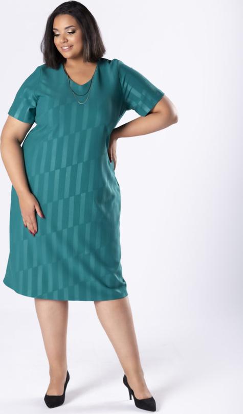 Zielona sukienka Moda Dla Ciebie dopasowana midi z krótkim rękawem