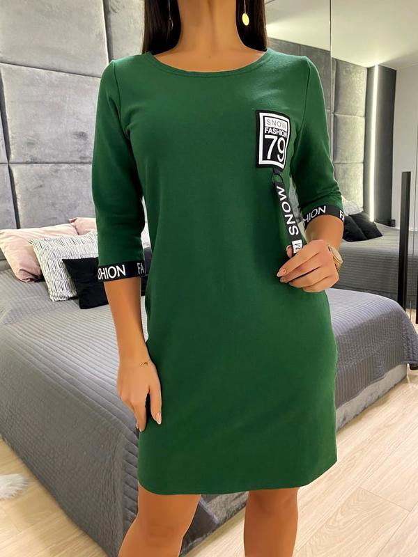 Zielona sukienka ModnaKiecka.pl prosta w stylu casual z długim rękawem