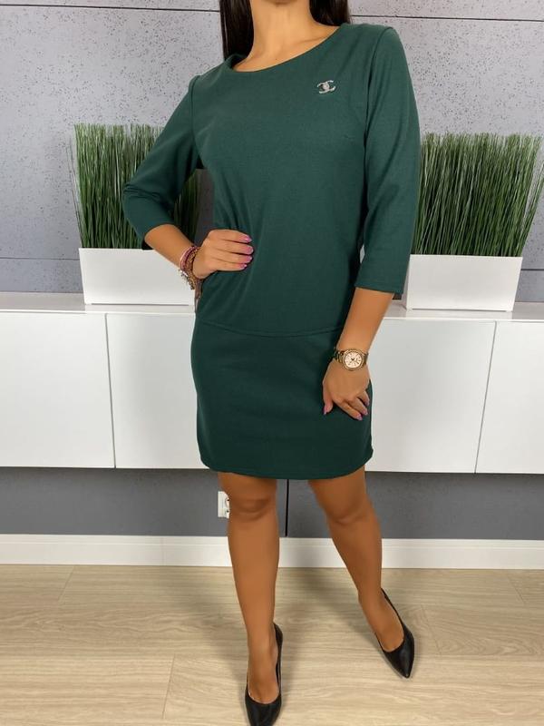 Zielona sukienka ModnaKiecka.pl z okrągłym dekoltem z długim rękawem mini