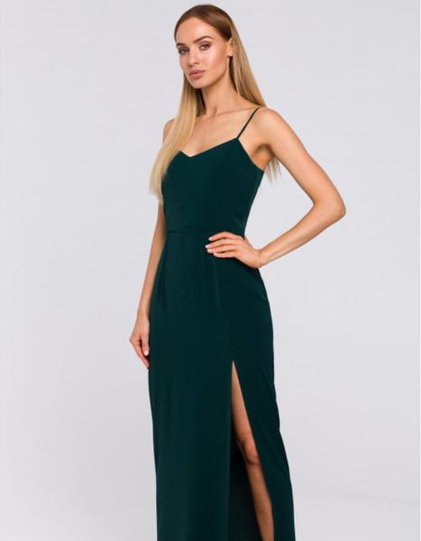Zielona sukienka MOE maxi z tkaniny