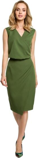 Zielona sukienka MOE midi z tkaniny z dekoltem w kształcie litery v