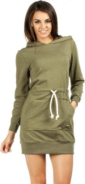 Zielona sukienka MOE sportowa z długim rękawem