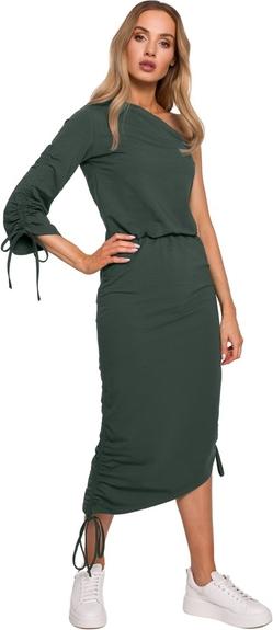 Zielona sukienka MOE z dekoltem w kształcie litery v dopasowana midi
