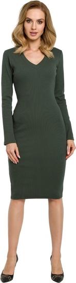 Zielona sukienka MOE z dekoltem w kształcie litery v z dzianiny ołówkowa