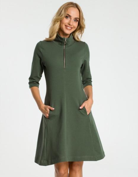 Zielona sukienka MOE z długim rękawem mini