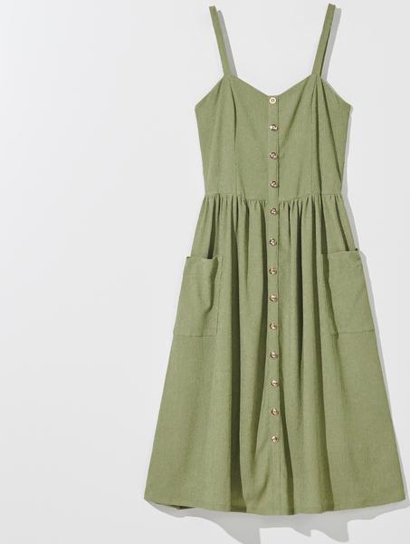 Zielona sukienka Mohito mini z dekoltem w kształcie litery v rozkloszowana