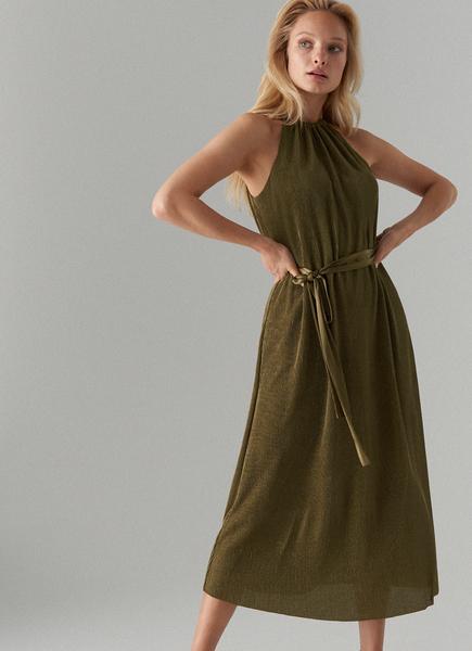 Zielona sukienka Mohito z dekoltem halter bez rękawów