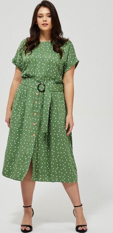 Zielona sukienka Moodo midi w stylu casual