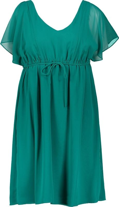 Zielona sukienka Naf naf z krótkim rękawem midi