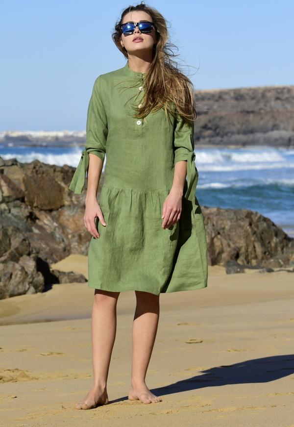 Zielona sukienka Nessi Sportswear z długim rękawem z okrągłym dekoltem mini