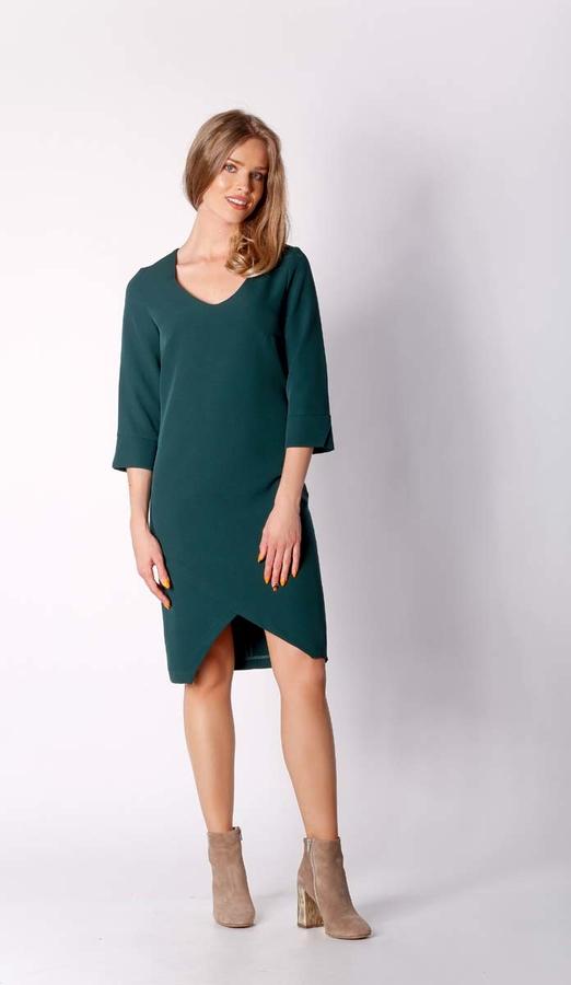 Zielona sukienka Nommo z dekoltem w kształcie litery v asymetryczna midi