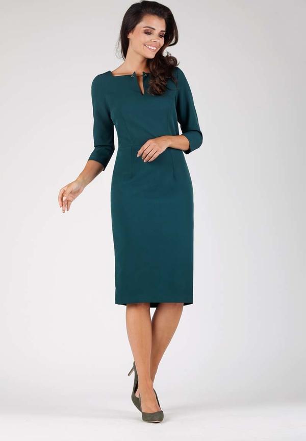 Zielona sukienka Nommo z długim rękawem dopasowana midi