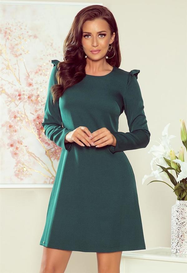 Zielona sukienka NUMOCO trapezowa mini z długim rękawem