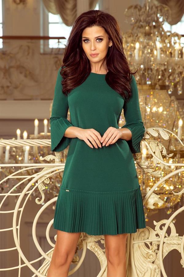 Zielona sukienka NUMOCO trapezowa z długim rękawem