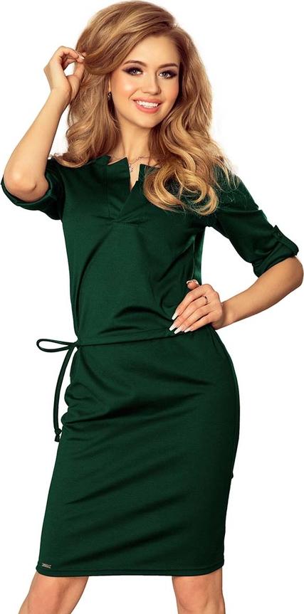 Zielona sukienka NUMOCO w stylu casual mini z dekoltem w kształcie litery v