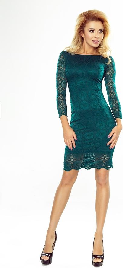 Zielona sukienka NUMOCO z długim rękawem mini