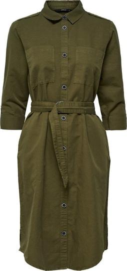 Zielona sukienka Only z kołnierzykiem z długim rękawem z lnu