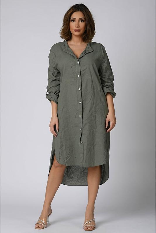 Zielona sukienka Plus Size Company koszulowa w stylu casual