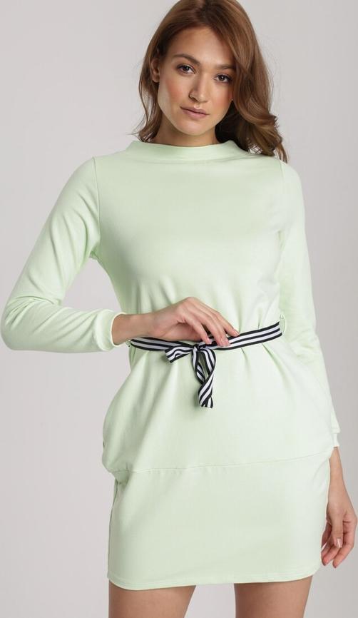 Zielona sukienka Renee mini z długim rękawem