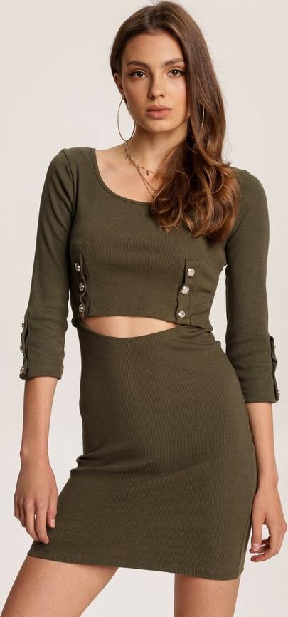 Zielona sukienka Renee mini z długim rękawem z okrągłym dekoltem