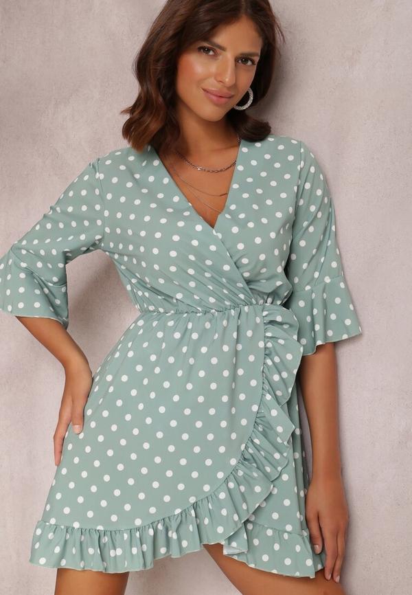 Zielona sukienka Renee w stylu casual z dekoltem w kształcie litery v